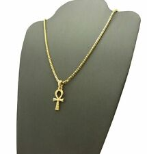 "& 24"" Box Chain Hip Hop Necklace Gold Plated Egyptian Mini Ankh Cross Pendant"
