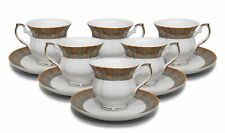 "Royalty Porcelain 12-pc ""Fleur-de-Lis"" Tea/Coffee Set, 24K Gold Bone China"