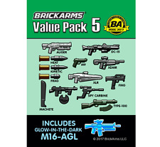 BRICKARMS Value Pack #5 Weapon Pack w/ GLOW M16-AGL for Lego Minifigures NEW