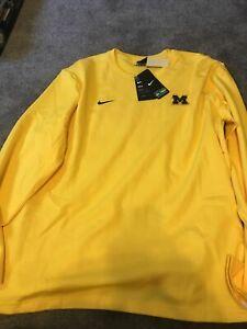 Nike On-Field Michigan Wolverines Long Sleeve CQ5053-728 Yellow Shirt Large L