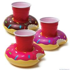 3-pk DONUTS Beverage Boat Inflatable Cup Drink Can Holder Pool Float - BigMouth