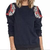 Anthropologie Hemant and Nandita Blue Embellished Jeweled Sweatshirt Women's M