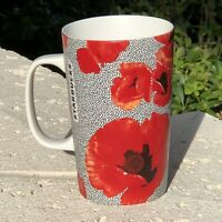 Starbucks Dot Collection Coffee Mug Cup Red Poppies 2015 Floral Ceramic 16 oz