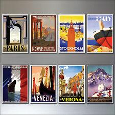 8 Vintage Viajes Pósters Imanes de nevera de Art Deco Periodo Retro Reproducción