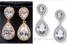 Wedding/Bridal/Simulated Diamond/Tear drop Crystal Earring/RGE700/N577/E526