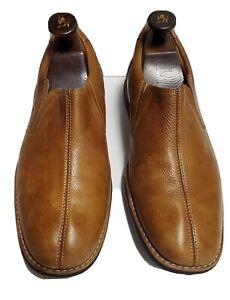 Johnston Murphy 10.5M Brown Leather Sheepskin Loafers Slip-On