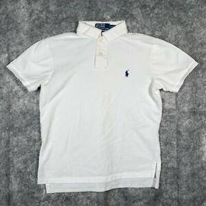 Ralph Lauren Polo Shirt Mens Small White Short Sleeve Custom Fit Black Pony O1