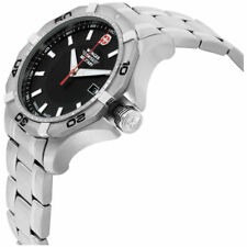 Wenger Aerograph Swiss Army Military 1241 Black Dial Stainless  Men's Watch
