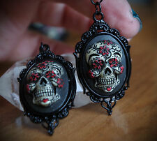 Black&Red Sugar Skull Calavera Day of the Dead Dia De Los Muertos Earrings
