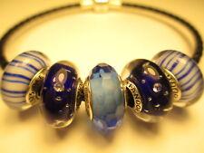 5 Authentic Pandora Silver 925 Ale Dark Blue Clear CZ Candy Stripes Beads Charm