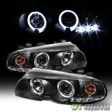 Black 2000-2003 BMW E46 3-Series Coupe Halo Projector LED Headlights Lamps Set