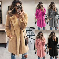 Women Ladies Faux Fur Coat Jacket Turn Down Collar Outerwear Overcoat Gift