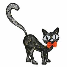 Halloween LED Haunted House Spirit Decor Burlap Black Cat - 29.5 Inch Tall NEW