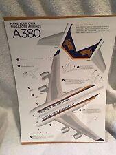 Set of Five Make Your Own Singapore Airlines A380 Card Models