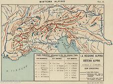 REGIONE ALPINA:TUTTE LE ALPI.Carta Geografica.Cromolitografia.Stampa Antica.1899