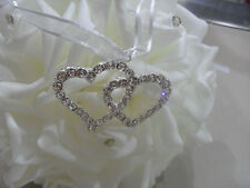 Diamante Double Hearts  Wedding Good Luck Charm Horseshoe Bridal With Card