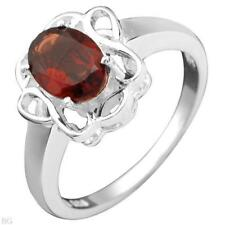 1.60ctw Oval Garnet Ring-Sz7-SS- valued $109
