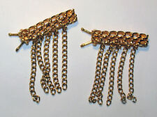 VINTAGE 2 GOLD METAL CHAIN FRINGE HAIR BARRETTES HAIR CLIPS • 1.5 inches