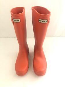 HUNTER Child's/Kids Matte Waterproof  Rain BOOTS Original Tall - Orange SZ 6G/5B