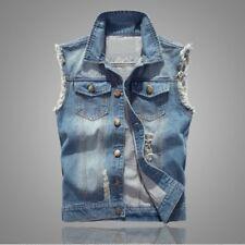 Men Jeans Vest Jacket Sleeveless Ripped Denim Top Trucker Coat Distressed Casual