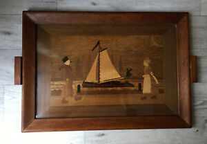 Vintage Inlaid Wooden Serving Tray With Glass