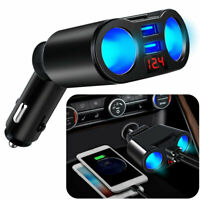 12V Car Cigarette Lighter Adapter 2 Way Double Plug Socket Charger Splitter+USB