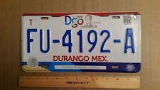 License Plate, Mexico, Durango,   FU  - 4192 - A