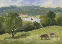 John A. Case - Contemporary Watercolour, Rural River Scene