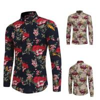 Mens Casual Shirt Cotton Blend Floral Flamingo Long Sleeve Shirt Gift Blouse