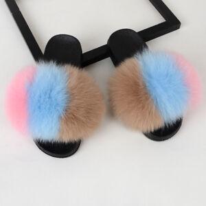 Women's Luxury Real Fox/Raccoon Fur Sliders Slides Slippers Sandal Shoes Casual