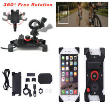 "7/8""360°Rotation Motorcycle Bike Phone Holder Mount USB Charger W/Accessories"