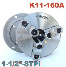 "1pc Lathe Chuck 6"" 3 Jaw Self-centering w/Back Plate 1-1/2""-8TPI K11-160A sct888"
