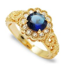 New Blue Round Cubic Zircon Gold Plated Lady Finger Jewelry Wedding Party Rings