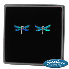 Dragonfly Stud Earrings Blue Paua Abalone Shell Silver Fashion Jewellery 18mm