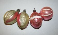4 Antique Feather Tree Mercury Glass Christmas Ornaments Bumpy Fruit Nuts Pink