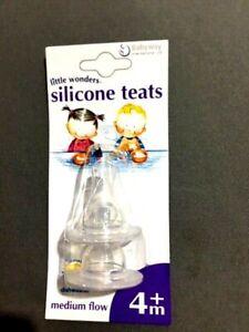 DUO PACK LITTLE WONDERS SILICONE TEATS baby bottle chew 4M + MEDIUM FLOW