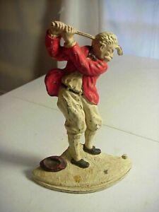 HUBLEY 236 Antique GOLFER in Back Swing CAST IRON DOOR STOP - Original Paint