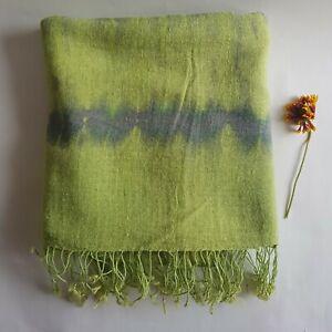 Hanf Schal, Handwebstuhl Shawl, Shibori Wrap, Tie Dye grün, Aufkleber