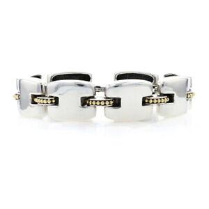 "Lagos Caviar Link Bracelet 8 3/4"" Sterling Silver & Yellow Gold - 925 & 18k"