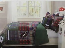 Kids Expressions MAXFIELD Full Quilt, 2 Shams & Decor Pillow ~ Football, Soccer