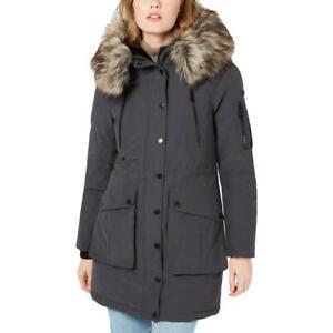 BCBGeneration Womens Faux Fur Midi Active Parka Coat Outerwear BHFO 8919