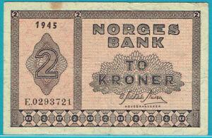 NORGES BANK 1945 2 KRONER PREFIX E (PICK#16a3) VF (SCARCE)