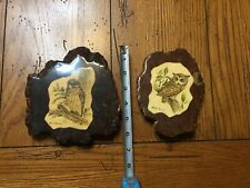 RARE VINTAGE LOT OF 2 OWL PRINT PICTURE ART ON WOODEN BURR BY LELAND BREWSAUGH