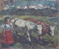 Mädchen mit Kühen,Expressionist,Ungarn, ~ 1920