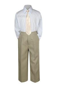3pc Shirt Khaki Pants Necktie Set Baby Toddler Kids Boys Wedding Formal Suit S-7