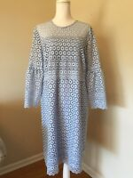 NEW J.CREW TALL BELL-SLEEVE DAISYLACE DRESS BLUE SZ 16T G8847 SOLD OUT!