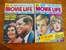 2 VINTAGE MOVIE LIFE MAGAZINES 1965 HOLLYWOOD GOSSIP KENNEDY BEATLES ELVIS