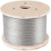 """T304 Stainless Steel Cable Wire Rope,5/16"""",7x19,100ft Mining Hoist Fishery"""