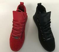 Fiesso Men's Fashion High Top Rhinestones Sneakers Red Black FI 2257 Size 8 -13
