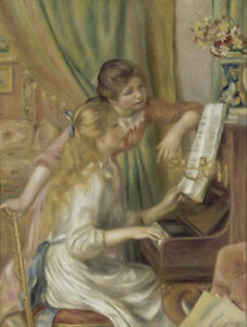 """Canvas Prints  Pierre-Auguste-Renoir """"Girls at the Piano"""" Framed Ready to Hang"""